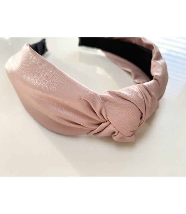 Pink Vegan Leather Knot Headband