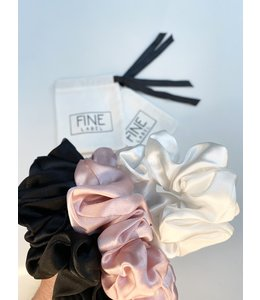 Refinery Fine Label 100% Silk Scrunchie 3 Pack