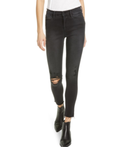 FRAME Le High Skinny Crop Raw Edge
