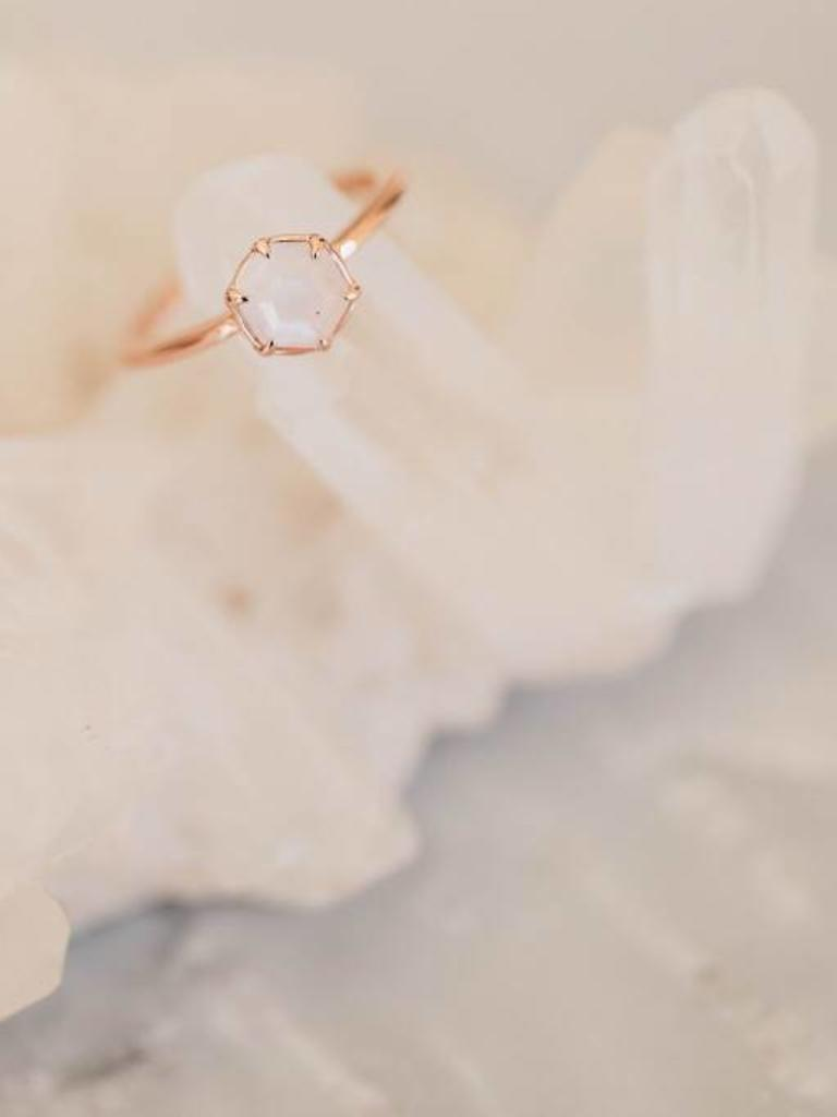 87149aed4 Hexagon Moonstone Ring with Claw Prongs - Sarah O.