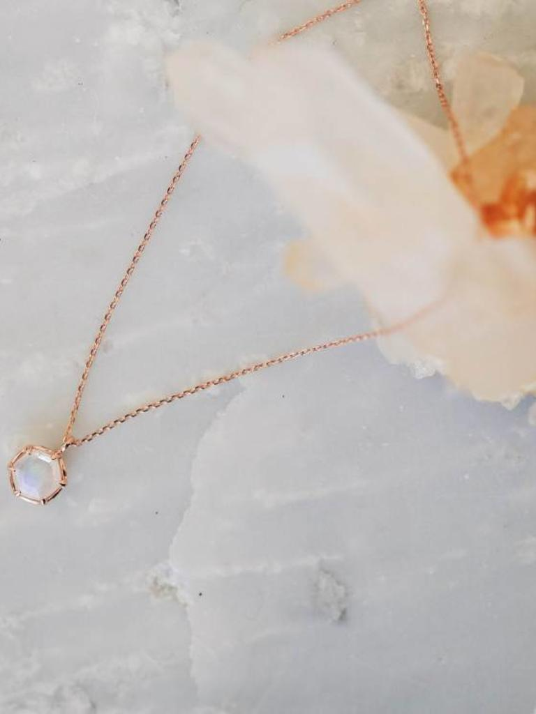 hexagon moonstone necklace with prongs sarah o