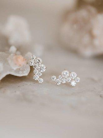 73c091d8d Sarah O Diamond Cluster Climber Earrings 18kyg