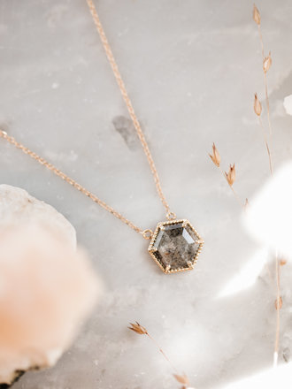 52e27825ac10ba Sarah O Hexagon Salt & Pepper Diamond Necklace 14kyg