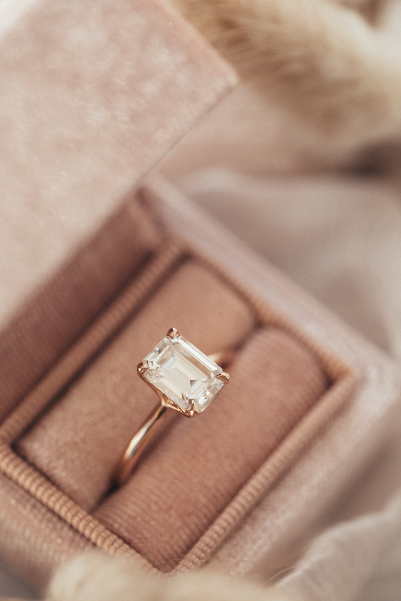 Emerald Octagon Cut Moissanite Solitaire Ring 14krg Sarah O