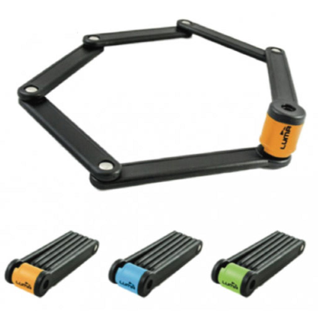Lock, HIGH SECURITY, KEY, Folding lock with Orange Highlights, 80cm, w/Mounting brkt LUMA No1 lock brand in Spain