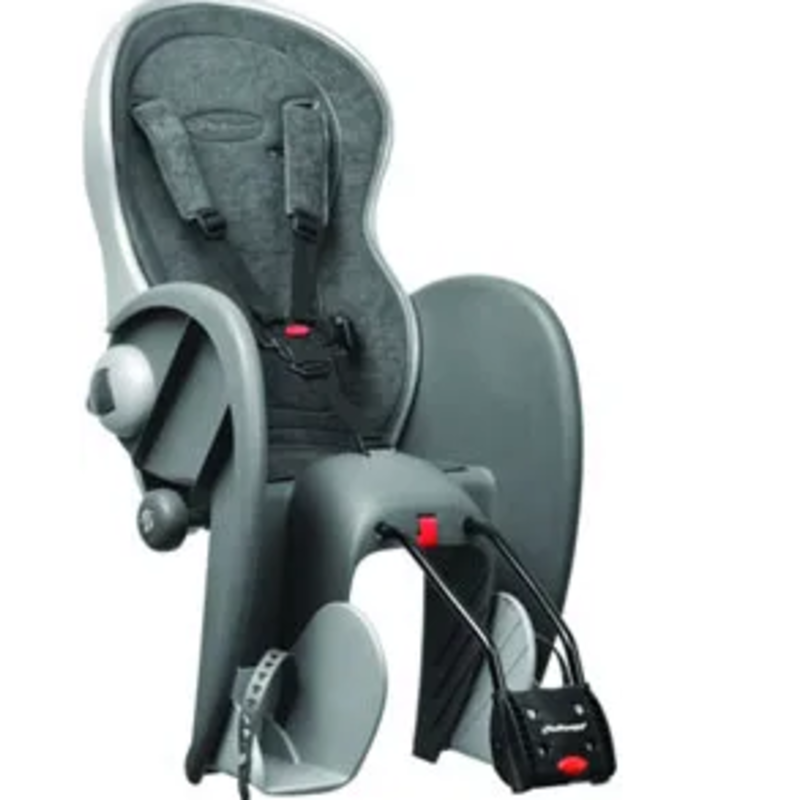 BABY SEAT - Polisport Wallaby, Deluxe, Q/R, 5 Point Adjustable Safety Harness, Easy Assemble, GREY/SILVER