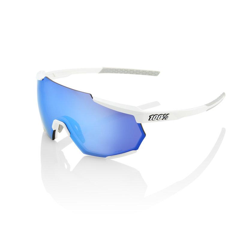 100% 100% Racetrap - Matte White - HiPER Blue Multilayer Mirror Lens