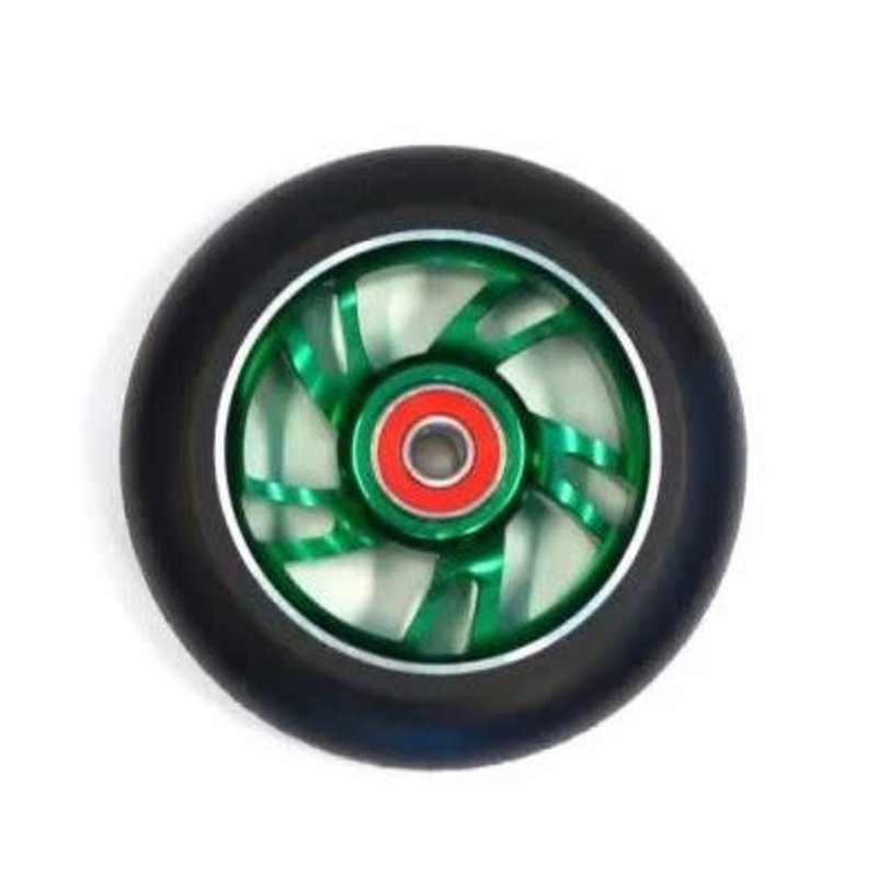 Scooter Wheel, Alloy, 100mm incl abec-9 bearing, GREEN core