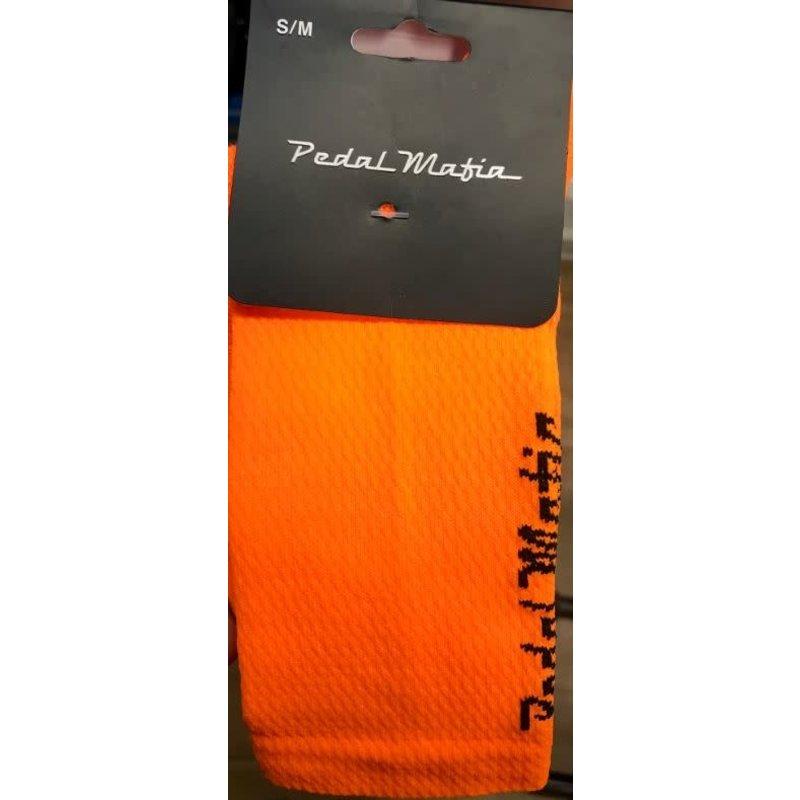PEDAL MAFIA **PM - Neon Orange and Black Tech Mesh Sock - S/M