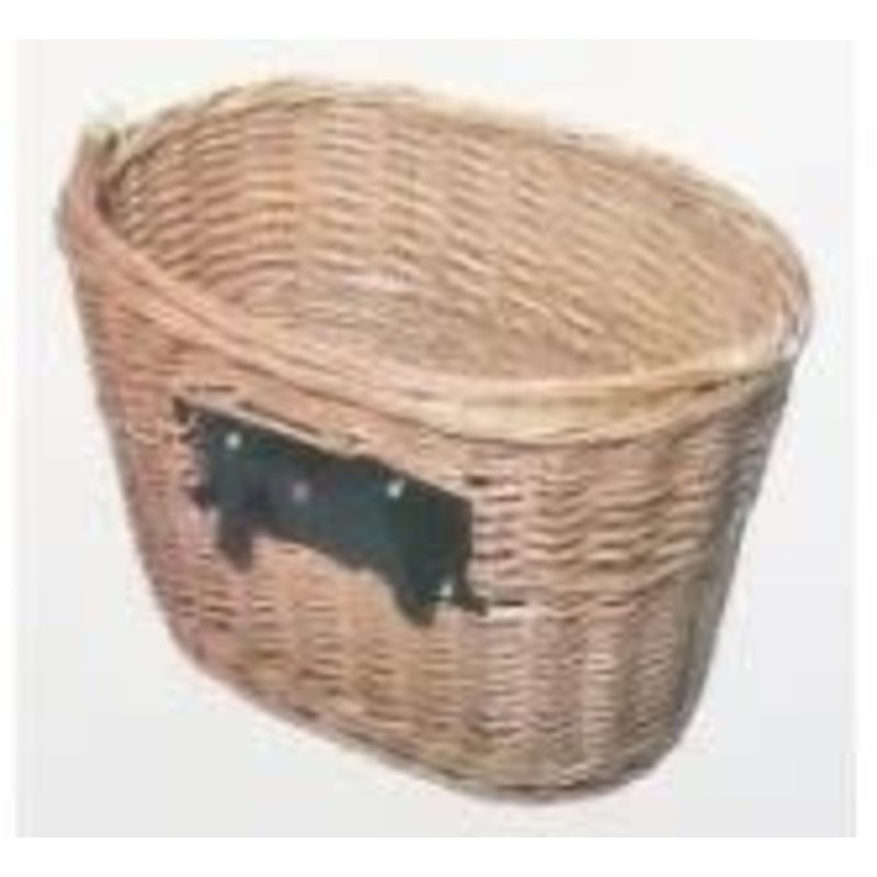 BASKET - Front, Wicker, Q/R, Oval Shape, With Handle, 350mm x 260mm x 220mm