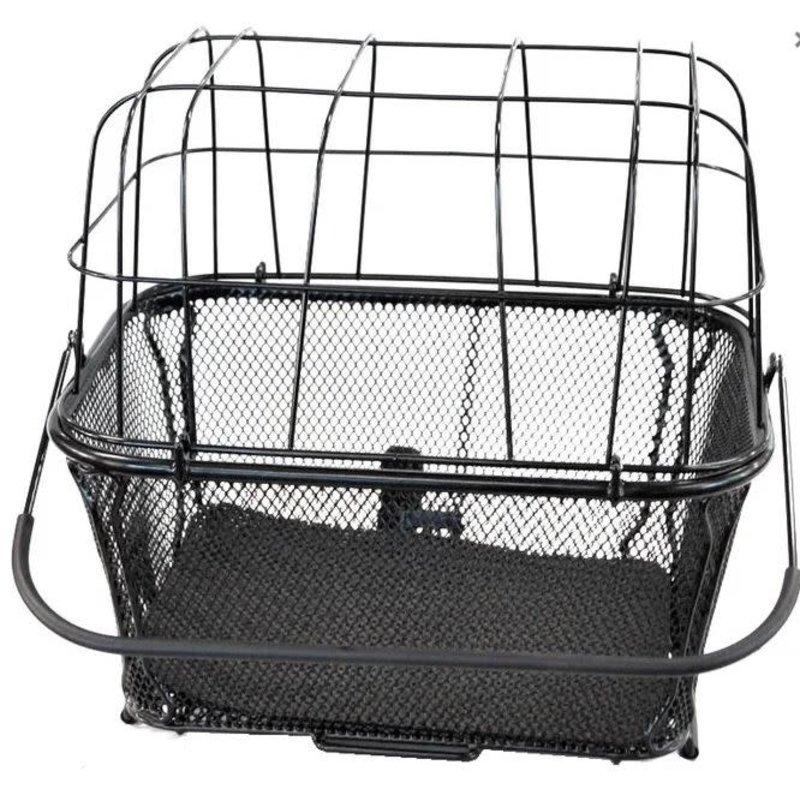 """BASKET - Large Pet Carrier, Rear, Q/R Base, Includes Dome wire """"clip in"""" Lid, Padded Base & Anchor Strap, 40cm x 30cm x 35cm"""