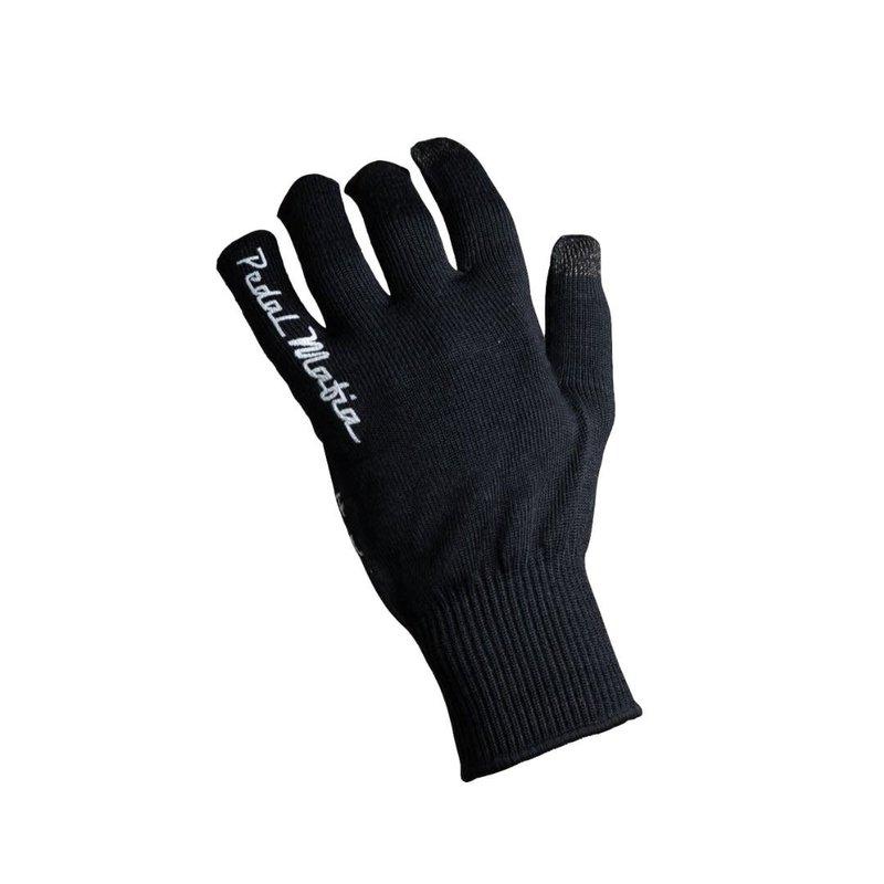 PEDAL MAFIA Pedal Mafia Woolen Blend Long Finger Glove - Black / White