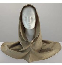 H167 - Brown Cotton Hooded Cowl, XL