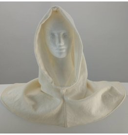 H168 - White Wool  Hooded Cowl, XL