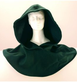 """H132 Green, wool, hooded cowl neck 27"""""""
