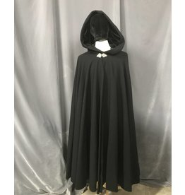 3849 - Black 100% Wool Cloak, Black Stretch Velvet Hood Lining, Pewter Triple Medallion Clasp
