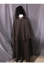 Cloak and Dagger Creations 3843 - Washable Brown Cotton Shaped Shoulder Cloak w/ Matching Mantle,  Brown Moleskin Hood Lining, Pewter Clasp