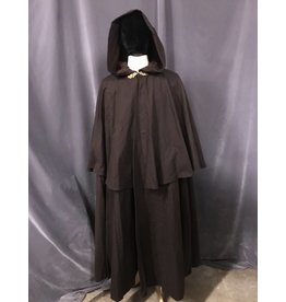 3843 - Washable Brown Cotton Shaped Shoulder Cloak w/ Matching Mantle, Arm Slits, Brown Moleskin Hood Lining, Gold-tone Oak Leaf Clasp