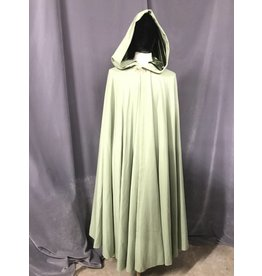 3837 - Light Green 100% Wool Cloak, Green Stretch Velvet Hood Lining, Gold-tone Triple Medallion Clasp