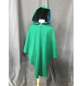 3832 Rain Resistant Kelly Green Shaped Shoulder Wool Ruana Cloak, Blue Moleskin Hood Lining, Silver-tone Vale Clasp