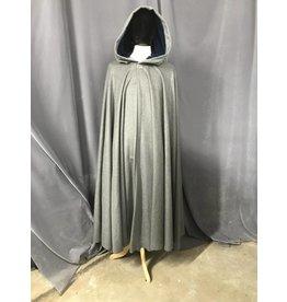 3831-Grey Wool Blend Cloak, Blue Velveteen Hood Lining, Silver-tone Vale Clasp
