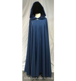 3820 - Denim Blue Wool Blend Cloak, Blue Hood Lining, Pewter Vale Clasp