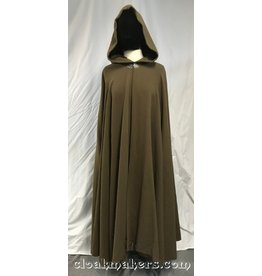 3822 - Cocoa Brown 100% Wool Cloak, Brown Velour Hood Lining, Pewter Vale Clasp