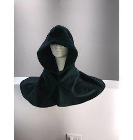 H182 - Deep Green Wool Blend Hooded Cowl