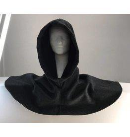 H175 - Dark Grey Heathered Wool Blend Hooded Cowl