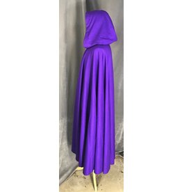 3850 - Royal Purple 100% Wool Cloak,Black Stretch Velvet Hood Lining, Pewter Vale Clasp