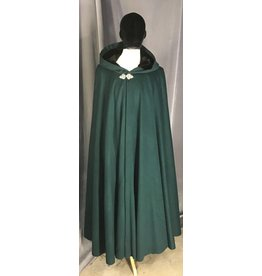 Cloak and Dagger Creations 3848 - Forest Green Wool Blend Cloak, Black Stretch Velvet Hood Lining, Pewter Triple Medallion Clasp