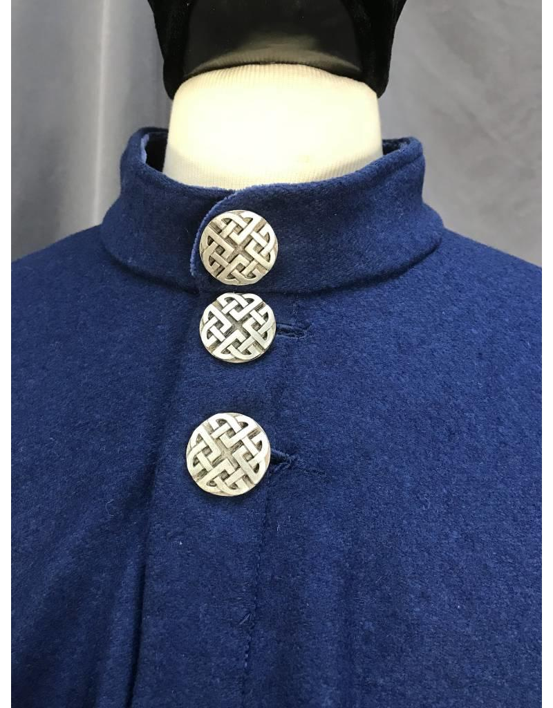 Cloak and Dagger Creations 3864 -Blue Wool Shaped Shoulder Hoodless Ruana with Buttons
