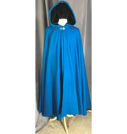 3862 -Blue Wool Full Circle Cloak w/Black velvet hood lining