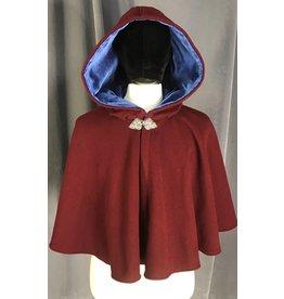 3858 - Maroon Red Wool Short Cloak, Blue Hood, Pewter Triple Medallion Clasp