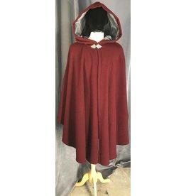 3856 - Maroon Red Wool Ruana Cloak w/Grey Hood Lining