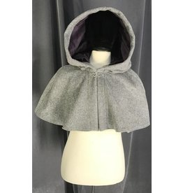 3853 - Heathered Grey Wool Shaped Shoulder Cloak, Purple Velvet Hood Lining