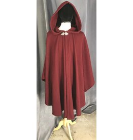 3852 -Maroon Red Wool Ruana Cloak, Pewter Triple Medallion Clasp