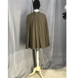3817 - Heathered Brown Wool Hoodless Shaped Shoulder Cloak