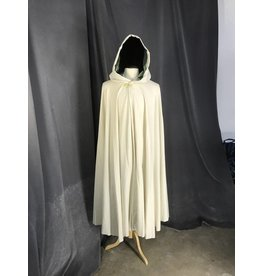 3867 - White Lightweight Cloak, Dusty Mint Green Hood, Gold-tone Vale Clasp