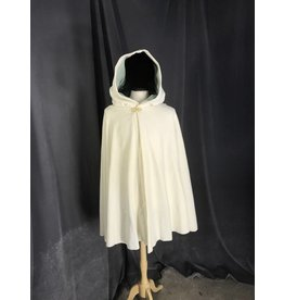 3865 - Washable Creamy White Wool Shaped Shoulder Cloak, Green Cotton Moleskin Hood Lining, Gold-tone Vale Clasp