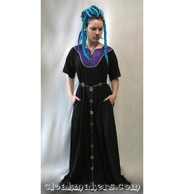 G1002 -Black Linen Dress Gown with Purple Wyvern Embroidery and Pockets