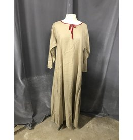 9b89e9e21f5fcf G1008 - Natural Linen Gown w/Split Sleeves, Red Trims