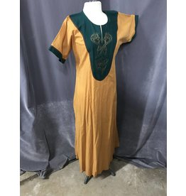 G1010 - Golden Yellow Gown, Green Collar, Gold Dragon Embroidery