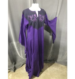 G1015 - Purple Linen Gown,  Purple Floral Embroidery on Navy