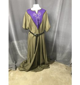 G1016 - Taupe linen gown with dragon embroidering on purple placket
