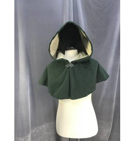 3883 - Washable Dusty Forest Green Fleece Short Cloak, Pewter Vale Clasp