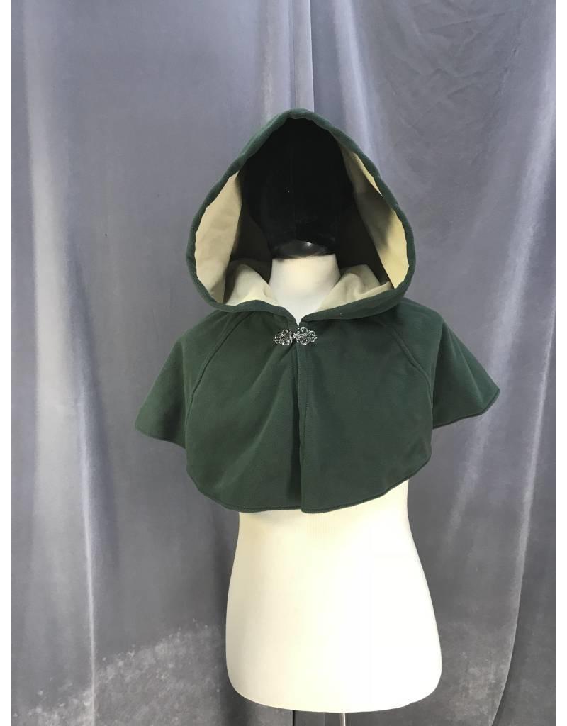 f965c49cb24 3883 - Washable Dusty Forest Green Fleece Short Cloak