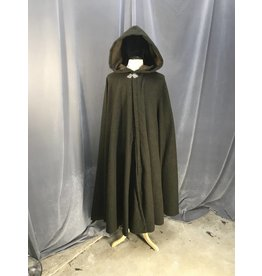 3870 - Heathered  Green Cloak, Full Circle,  Brown Moleskin Hood Lining, Pewter Clasp