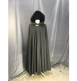 3871 - Grey Full-Circle Cloak, Burgundy Velvet Hood Lining,  Pewter Triple Medallion Clasp