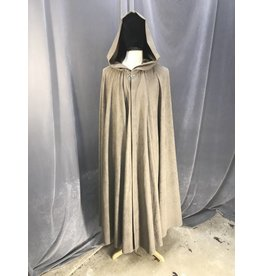 3872 - Washable Light Brown Full Circle Cloak, Pewter Vale Clasp